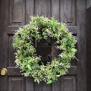 Faux Baby's Breath Grapevine Wreath 20 inches